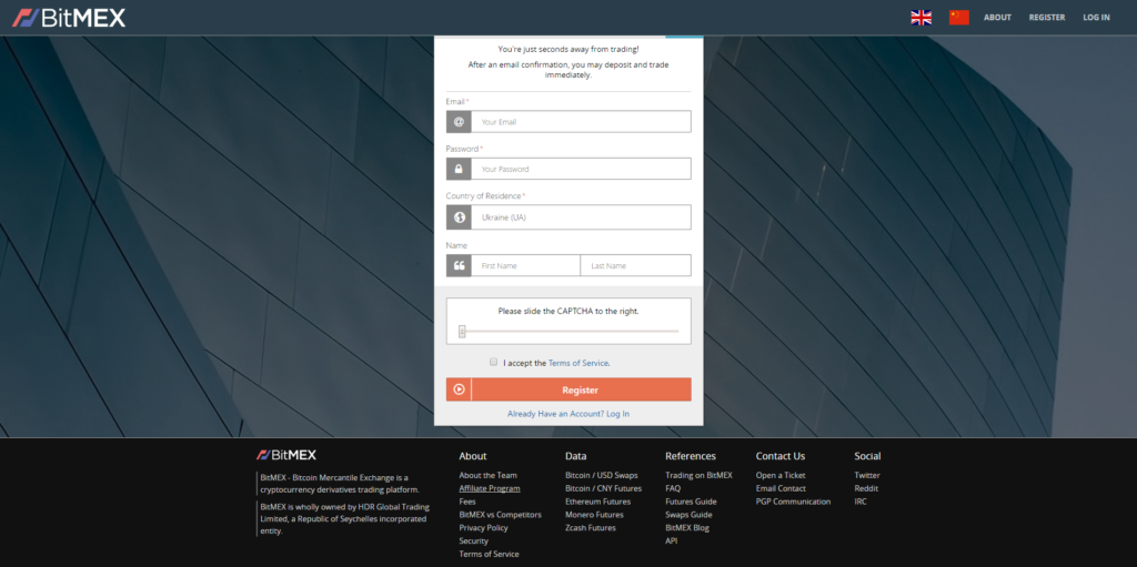 Register BitMEX